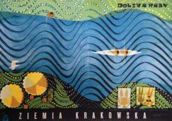 Oryginalny polski plakat turystyczny reklamujący turystykę Ziemi Krakowskiej. Projekt plakatu JERZY NAPIERACZ