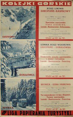 Przedwojenny plakat reklamujący kolejki górskie na Kasprowym