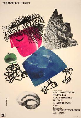 """Oryginalny polski plakat filmowy do polskiej komedii """"Zacne grzechy"""". Reżyseria Mieczysław Waśkowski. Projekt plakatu: JERZY SROKOWSKI"""
