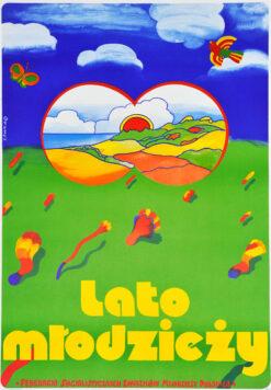 """Polska szkoła plakatu, plakat turystyczny vintage PRL """"Lato młodzieży"""", proj. Jan Sawka, 1974"""