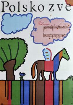 Oryginalny polski plakat turystyczny wydany w języku węgierskim zapraszający do Polski. Projekt: JAN MŁODOŻENIEC