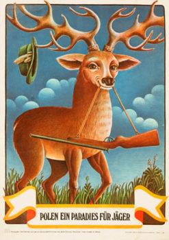 """Oryginalny polski plakat turystyczny wydany w języku niemieckim zapraszający do Polski - raju dla myśliwych """"Polen ein Paradies für Jäger"""". Projekt: RAFAŁ OLBIŃSKI"""