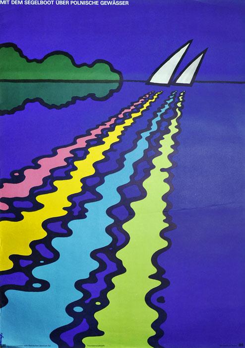 """Oryginalny polski plakat turystyczny zachecający do żeglowania na Mazurach """"Mit dem Segelboot über Polnische Gewasser"""". Projekt: WITOLD JANOWSKI"""