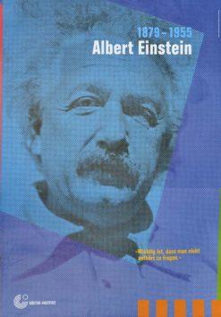 """Oryginalny polski plakat reklamujący wystawę w Goethe Institut """"Albert Einstein 1979-1955"""". Projekt niesygnowany"""