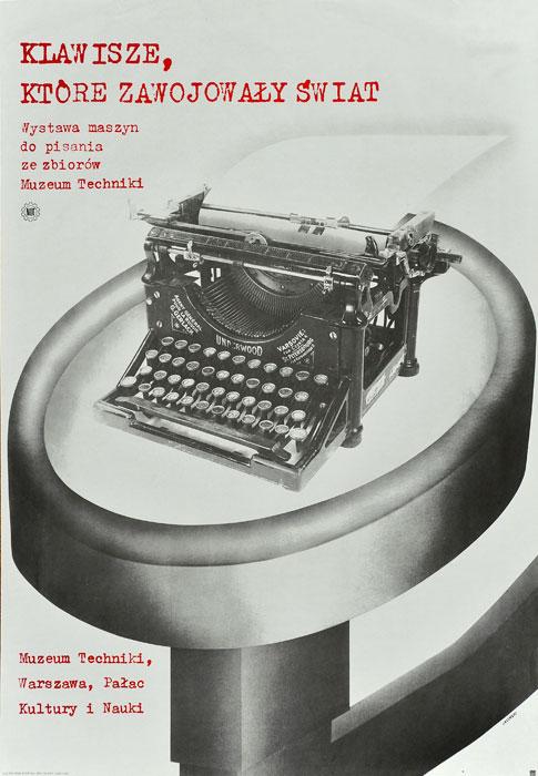 """Oryginalny polski plakat wystawowy zapowiadający ekspozycję maszyn do pisania """"Klawisze"""