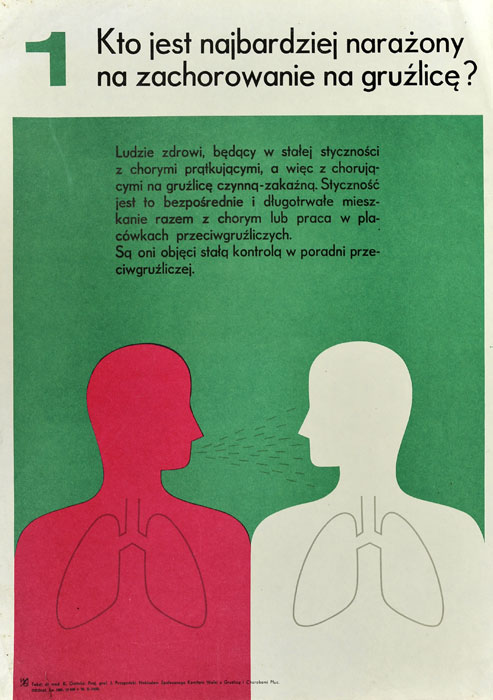 """Oryginalny polski plakat społeczny """"Kto jest najbardziej narażony na zachorowanie na gruźlicę"""