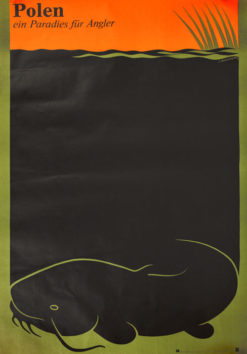 """Oryginalny polski plakat turystyczny """"Polska - raj dla wędkarzy"""" (POLEN - EIN PARADIES FUR ANGLER). Projekt: LESZEK HOŁDANOWICZ"""