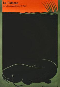 """Oryginalny polski plakat turystyczny """"Polska - raj dla wędkarzy"""" (La Pologne - paradis des pecheurs a la ligne). Projekt: LESZEK HOŁDANOWICZ"""