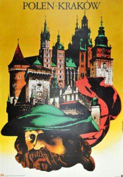 """Oryginalny polski plakat turystyczny promujące Polskę i Kraków """"Polen - Kraków"""". Projekt: TADEUSZ JODŁOWSKI"""