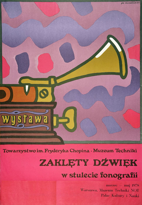 """Oryginalny polski plakat wystawowy reklamujący wystawę """"Zaklęty dźwięk"""" w Muzeum Techniki w Pałacu Kultury w Warszawie. Projekt: JAN MŁODOŻENIEC"""