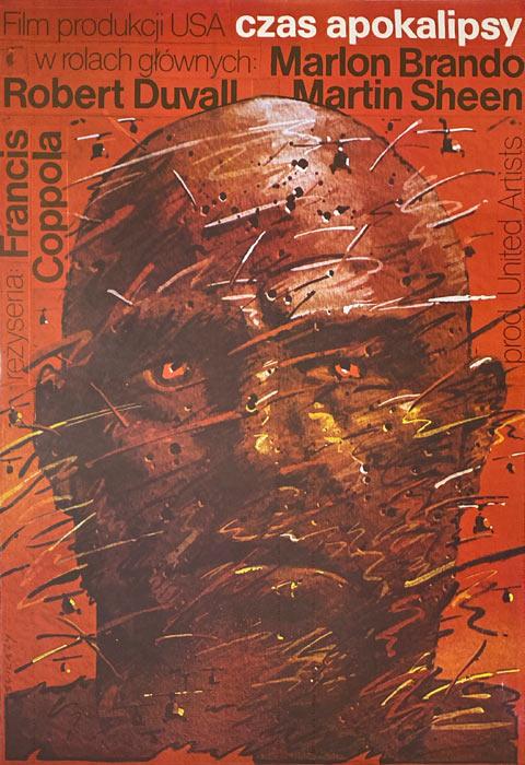 """Oryginalny polski plakat filmowy do filmu amerykańskiego """"Czas apokalipsy"""". Reżyseria: Francis Ford Coppola. Projekt: WALDEMAR ŚWIERZY"""