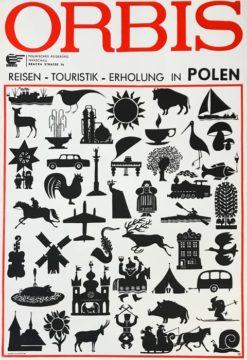 """Oryginalny polski plakat reklamowy biura podróży Orbis promujący i zapraszający do Polski """"Orbis - reisen"""