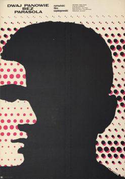 """Oryginalny polski plakat filmowy do rumuńskiego filmu """"Dwaj panowie bez parasola"""". Reżyseria: Stefan Roman. Projekt: MIECZYSŁAW WASILEWSKI"""