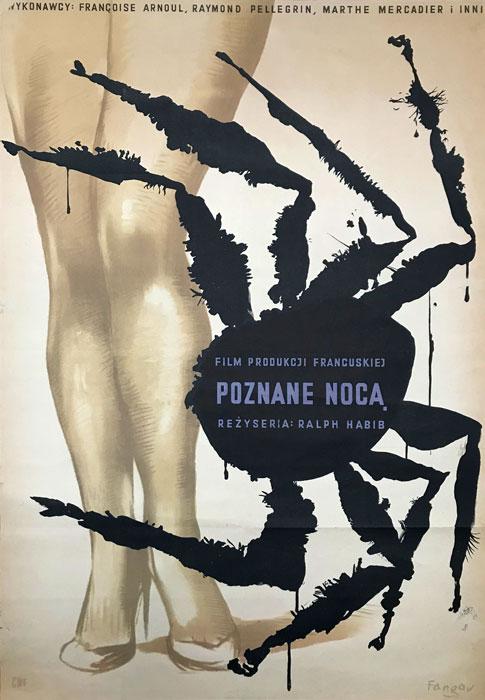 """Oryginalny polski plakat filmowy do filmu francuskiego """"Poznane nocą"""". Reżyseria: Ralph Habib. Projekt: WOJCIECH FANGOR"""