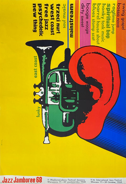 Oryginalny polski plakat muzyczny do 11 Międzynarodowego Festiwalu Jazzowego