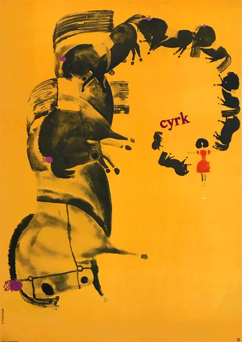 Oryginalny polski plakat cyrkowy przedstawiający konie z treserką. Projekt plakatu: DANUTA ŻUKOWSKA 1966 r.