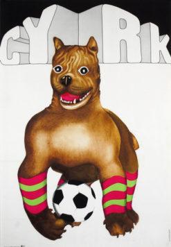 Oryginalny polski plakat cyrkowy przedstawiający psa grającego w piłkę. Projekt plakatu: DANUTA ŻUKOWSKA 1973 r.