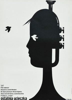 """Oryginalny polski plakat do filmu radzieckiego """"Ostatnia ucieczka"""". Reżyseria: Leonid Menaker. Projekt plakatu: ELŻBIETA PROCKA"""