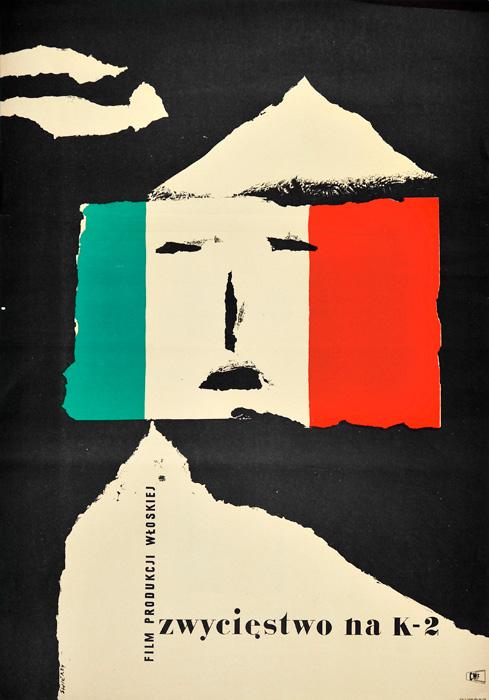 """Oryginalny polski plakat filmowy do filmu włoskiego """"Zwycięstwo na K-2"""". Reżyseria: Marcello Baldi. Projekt: WALDEMAR ŚWIERZY"""