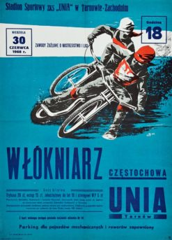 Oryginalny polski plakat sportowy reklamujący Wyścigi motocyklowe - Żużel. Projekt sygnowany inicjałem JS (?) 1959.