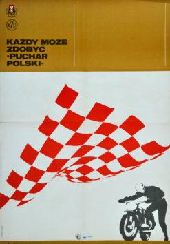"""Oryginalny polski plakat sportowy reklamujący żużlowe wyścigi motocyklowe: Każdy może zdobyć """"Puchar Polski"""". Projekt plakatu: MACIEJ URBANIEC"""