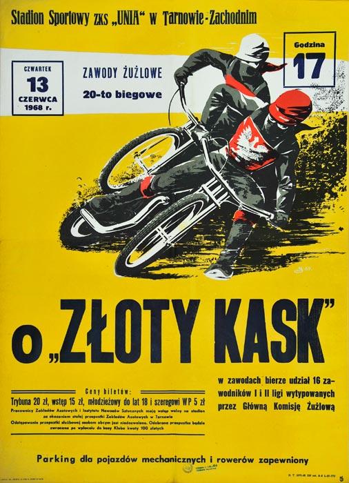 """Oryginalny polski plakat sportowy reklamujący Wyścigi motocyklowe Żużel : Zawody żużlowe 20-to biegowe o """"Złoty Kask"""". Projekt sygnowany inicjałem JS (?) 1959."""