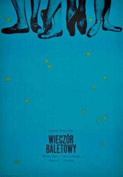 Oryginalny polski plakat teatralny zapowiadający Wieczór baletowy (Różowe balety J. Smoczyńskiego; Bagatela J. Straussa) w Operetce Warszawskiej.  Projekt plakatu: niesygnowane