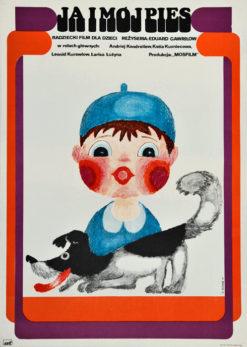 """Oryginalny polski plakat filmowy do animowanego filmu dla dzieci """"Ja i mój pies"""". Reżyseria: Eduard Gavrilov. Projekt: HANNA BODNAR"""