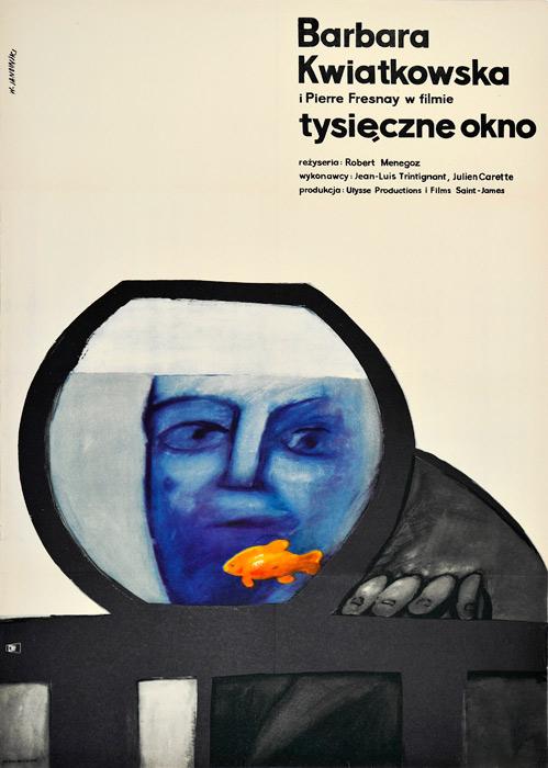 """Oryginalny polski plakat filmowy do francuskiego filmu """"Tysięczne okno"""". Reżyseria: Robert Menegoz. Projekt: WITOLD JANOWSKI"""