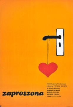 """Oryginalny polski plakat filmowy do francuskiego filmu """"Zaproszona"""". Reżyseria: Vittorio De Seta. Projekt: M. MOTYKA"""