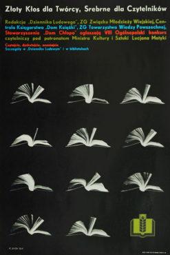 """Oryginalny polski plakat reklamujący VIII Ogólnopolski Konkurs Czytelniczy """"Złoty Kłos"""". Projekt KAROL SYTA"""