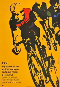 Oryginalny polski plakat sportowy reklamujący XXV Międzynarodowy wyścig kolarski Dookoła Polski. Projekt KAROL SYTA
