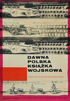 """Oryginalny polski plakat wystawowy """"Dawna polska książka wojskowa"""" w Warszawie"""
