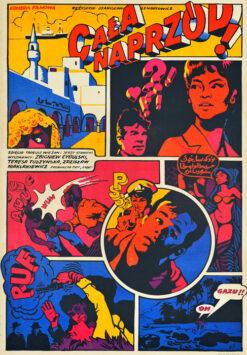 """Polska szkoła plakatu, plakat filmowy vintage PRL """"Cała naprzód"""", Waldemar Świerzy, 1966"""