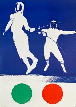 """Polska szkoła plakatu, plakat sportowy vintage PRL """"Szermierka"""", Wojciech Zamecznik, 1963"""