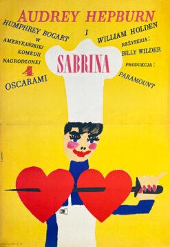 """Polska szkoła plakatu, plakat filmowy vintage PRL """"Sabrina"""" Maciej Żbikowski, 1967"""