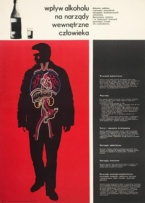 """Oryginalny polski plakat społeczny do kampanii antyalkoholowej """"Wpływ alkoholu na narządy wewnętrzne człowieka"""". Projekt plakatu: WITOLD JANOWSKI"""