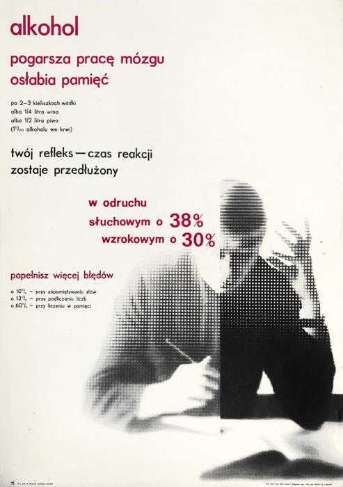 """Oryginalny polski plakat społeczny do kampanii antyalkoholowej """"Alkohol pogarsza pracę mózgu"""