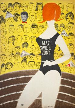 """Polska szkoła plakatu, oryginalny plakat filmowy vintage z okresu PRL """"Mąż swojej żony"""", Barbara Baranowska. 1961"""
