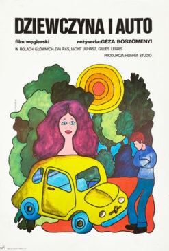 """Polska szkoła plakatu, plakat filmowy vintage PRL """"Dziewczyna i auto"""", proj. Hanna Bodnar, 1975"""