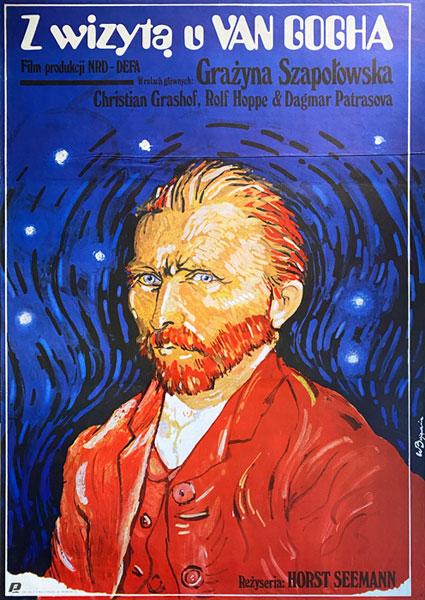 """Oryginalny polski plakat filmowy do niemieckiego filmu """"Z wizytą u Van Gogha"""". Reżyseria: Horst Seeman. Projekt plakatu: W. BUJANOWICZ"""