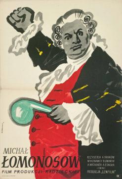 """Oryginalny polski plakat filmowy do filmu radzieckiego """"Michał Łomonosow"""". Reżyseria:"""