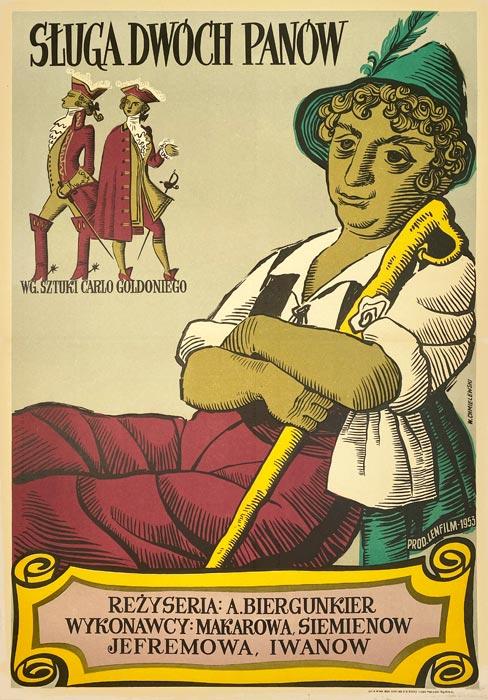 """Oryginalny polski plakat filmowy do filmu radzieckiego """"Sługa dwóch panów"""". Reżyseria:"""