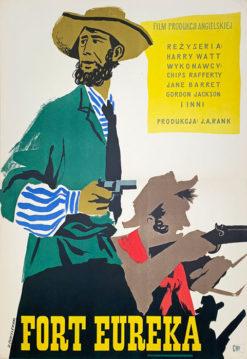 """Oryginalny polski plakat filmowy do filmu angielskiego """"Fort Eureka"""". Reżyseria: Harry Watt. Projekt: WITOLD CHMIELEWSKI"""