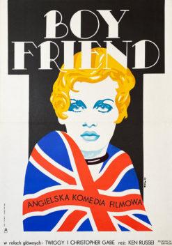 """Oryginalny polski plakat filmowy do amerykańskiego filmu """"Boy friend"""". Reżyseria: Ken Russell. Projekt plakatu: JAKUB EROL"""