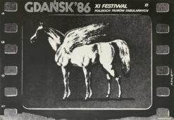 """Polska szkoła plakatu, plakat filmowy vintage PRL """"Festiwal Filmów Fabularnych"""" Jakub Erol, 1985"""