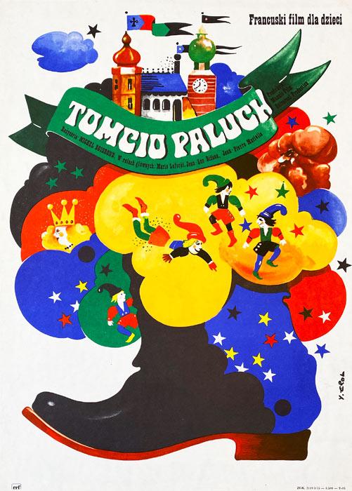 """Oryginalny polski plakat filmowy do francuskiego filmu """"Tomcio Paluch"""". Reżyseria: Michel Boisrond. Projekt plakatu: JAKUB EROL"""