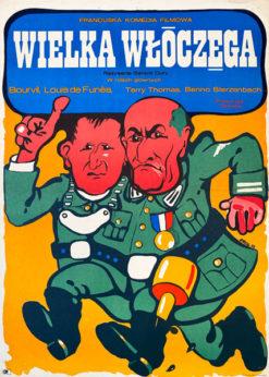 """Oryginalny polski plakat filmowy do francuskiego filmu """"Wielka włóczęga"""". Reżyseria: Gerard Oury. Projekt plakatu: JAKUB EROL"""
