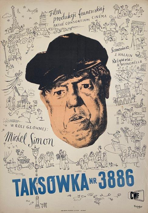 """Oryginalny polski plakat filmowy do filmu francuskiego """"Taksówka nr 3886"""". Reżyseria:"""