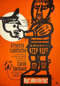 """Oryginalny polski plakat filmowy do amerykańskiego filmu """"Być albo nie być"""". Reżyseria: Ernst Lubitsch Projekt: JERZY FLISAK"""